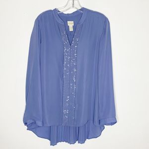 Chico's Sequined Periwinkle Long Sleeve Blouse